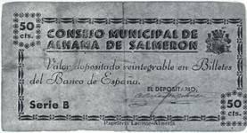 peseta civil war consejo municipal de Alhama de Salmeron (Almeria)