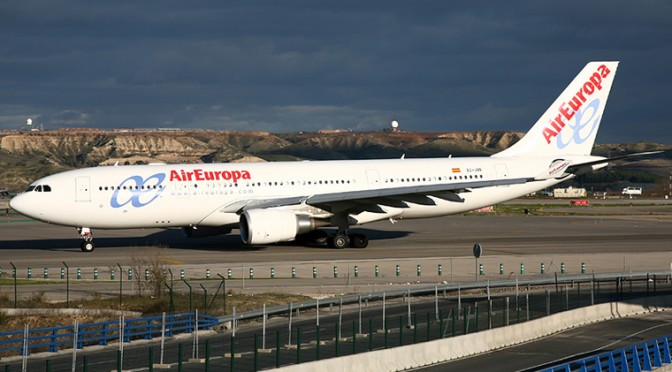 Air Europa plane in Madrid Barajas