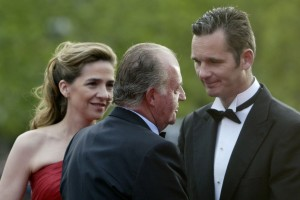 Happy times - the Infanta, her husband Urdangarin and King Juan Carlos