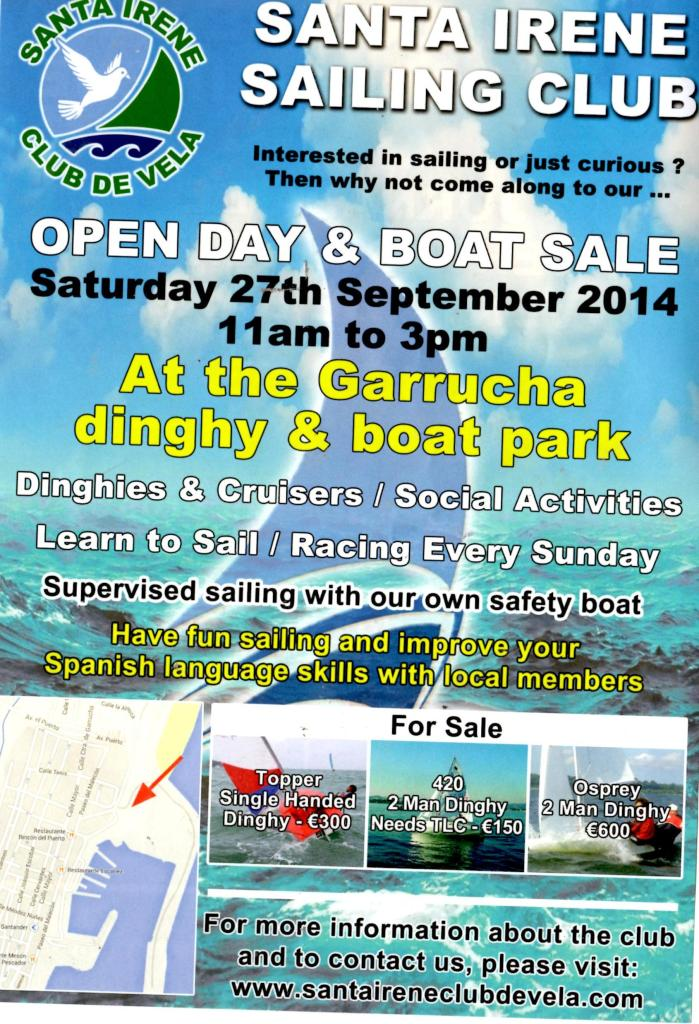 santa irene sailing club open day poster
