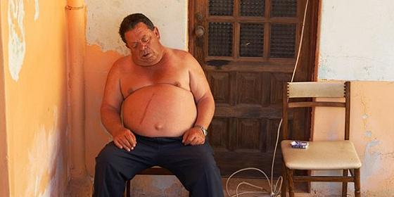 fat chap asleep